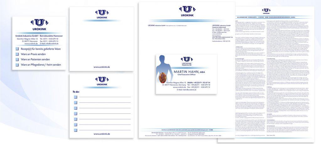 Geschäftsausstattung Urokink: Notizblöcke, Briefpapier mit den AGBs auf der Rückseite, Visitenkarten