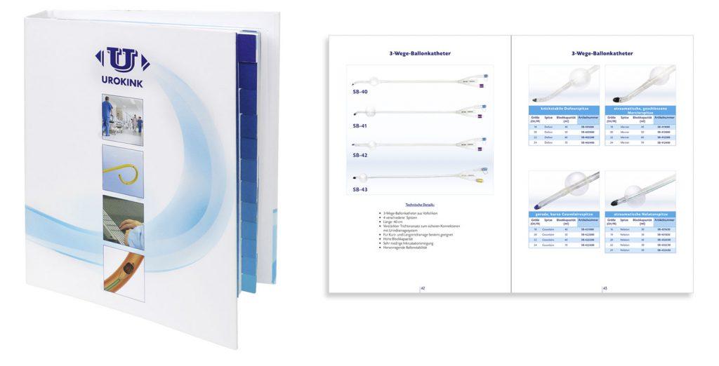 Produktkatalog: Mappe mit Register und einer Beispiel-Innenseite